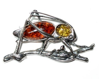 Fab Sterling Silver and Multi-Color Amber Insect Pin Cricket Grasshopper