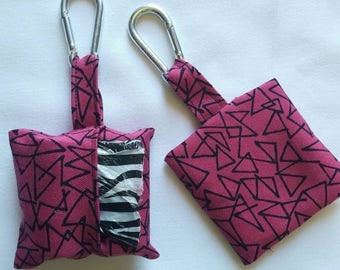 Poop bag holder, handmade dog waste bag dispenser for dog leash or belt
