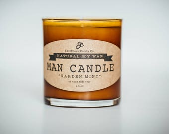 Man Candle, Soy Man Candle, Soy Wax Man Candle, Amber Jar Soy Candle, Manly Smelling Soy Candle, Atlanta, Ga