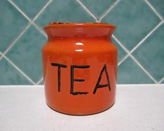 Vintage Orange Tea Canister with Cork Lid - 1970's