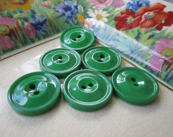6 Vintage Green Buttons