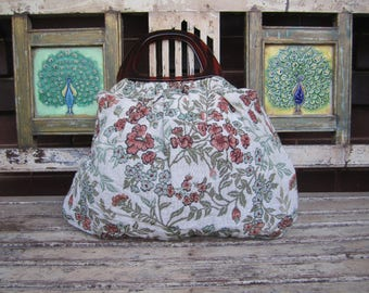 Vintage Tapestry Bag with Faux Tortoise Shell Handles- Market - Hand Bag - Shopping -