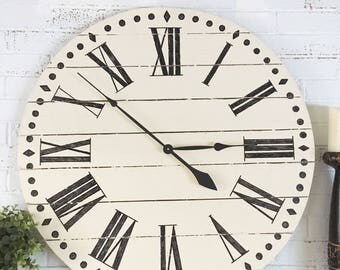 Farmhouse Style Wooden Pallet Clock-Buttermilk Roman Numeral- 4 sizes!