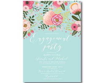 Floral Engagement Party Invitation, Printable Engagement Party Invitation, Engagement Party, Party Invitation, Printable Invitation #CL336