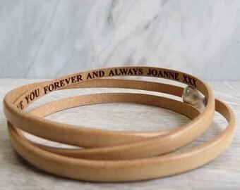 Secret Message Leather Wrap Bracelet