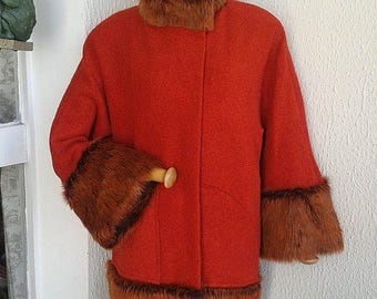 red fur and orange boiled wool coat