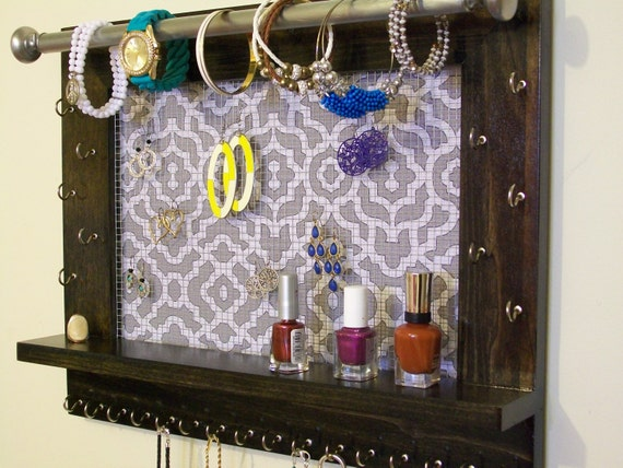 large jewelry organizer wall jewelry by bluemountwoodcrafts