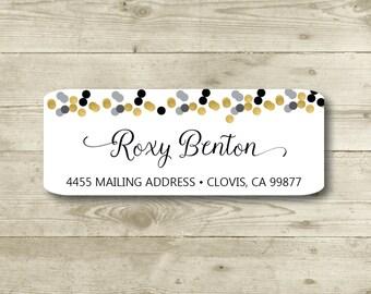Gold, Black, Gray, Confetti, Return Address Label, Personalized, MATTE, All Occasions, Special Events