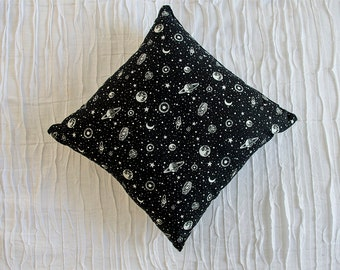 cosmic moon and star celestial pillow black and white 16 x 16 handmade moon, star, and planet print throw pillow