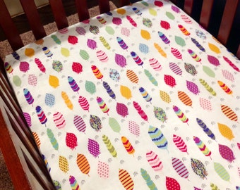 Fitted crib Sheet,  Feathers, Boho Nursery Custom Crib bedding