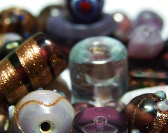 45g Lampwork Beads - Mixed Shape and Sizes - Purple