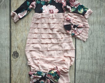 Dusty rose baby gown, blush floral, ruffle gown, baby girl gown, going home outfit, baby shower gift, boutique baby outfit