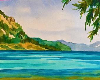 Lake Tahoe painting in watercolor