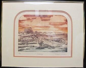 "Robert Clibbon Original Lithograph ""Castaways"" Pencil Signed, Numbered & Titled"