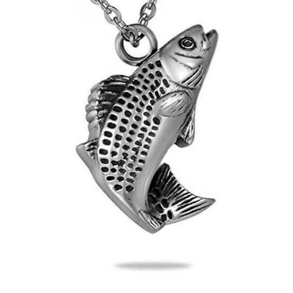 Fish urn necklace memorial jewelry cremation necklace for Fish cremation jewelry