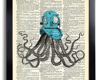Octopus Diving Helmet Sea Art Print Octopus Art Print, Bathroom Wall Decor, Beach Home Art Print on Dictionary Paper,Bathroom Wall Decal 153
