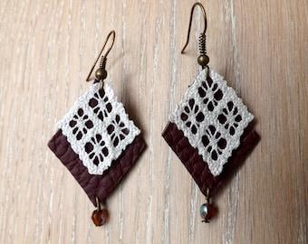"""Small leather and lace Earrings """"Geometry"""" - boho earrings - chandelier earrings - unique jewelry"""