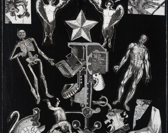 Black and White Print of Death Themed Collage Two