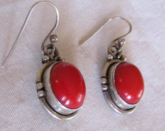 Sterling Silver and Red Stone Dangle Wire Earrings