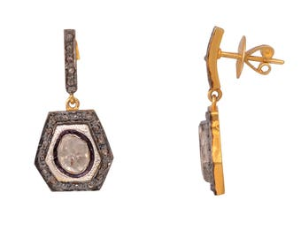 Diamond Earring, Victorian Jewelry, Silver Diamond Earring, Rose Cut Diamond Earring, Polki Diamond Earring, Diamond Jewelry