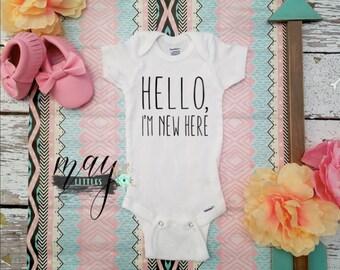 Hello, I'm New There Bodysuit - New Baby Bodysuit - Boho Baby Jumper - Boho Baby Clothes
