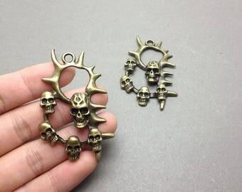 5 pcs antique bronze color metal skull charm , metal skull pendant 38mmx60mm