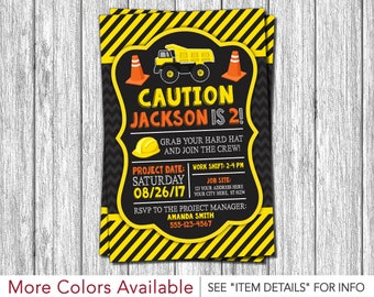 Construction Birthday Invitation - Construction Invitation