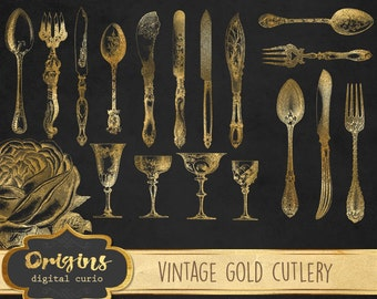 Vintage Gold Cutlery Clipart, antique silverware clip art instant download, spoons, forks, knives Victorian gold foil illustrations graphics