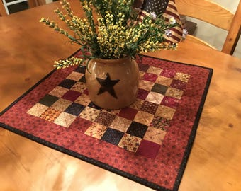 Quilted Table Topper / Handmade /Primitive Decor / Country Decor / Farmhouse decor /  Item #2045