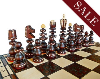 Unique Hand Made Wooden Chess Set Large 60x60cm By