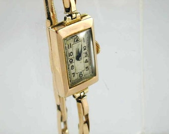 Ladies watch art deco 9ct yellow gold 15ct gold bracelet dated 1936