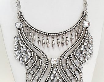 Silver Chain with Crystal Clear Beads Statement Necklace/ Silver Statement Necklace.