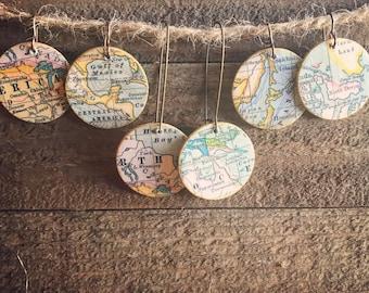 map earrings
