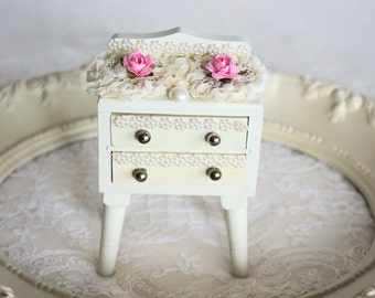 Vintage Miniature Chest, Hand Painted, Shabby Chic Miniature Chest with Drawers