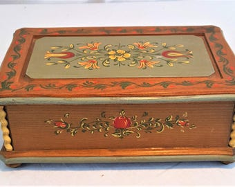 "RARE Vintage Reuge ANRI Hand Painted Music Box ""Forever And Ever"" Tune"