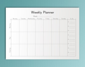 WEEKLY PLANNER A4 Printable PDF Binder Inserts Weekly Organizer Weekly To Do list Week Calendar Weekly Weekly Notebook. Instant Download.