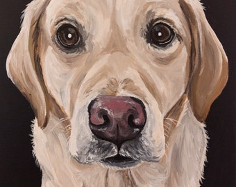 Yellow Lab art print from original yellow labrador canvas painting, canvas or paper options