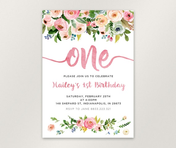 Floral 1st Birthday Invitation Girl