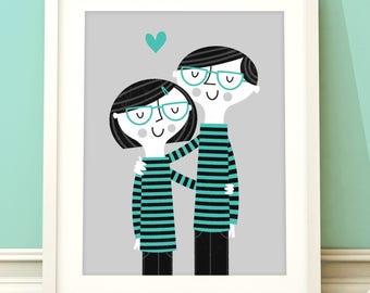 Perfect Match print, art print, wall art, illustration, home decor, wedding gift, cute artwork, couple print, hipster print
