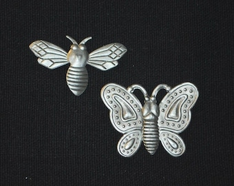 12 asst. Embossed Aged Silver Foil Butterfly & Bee Embellishment - Self Adhesive - scrapbook