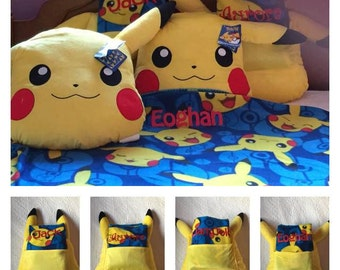"Pokemon, ""Choose Pika"" Big Face Character Pillow and Fleece Throw Set  Personalized"