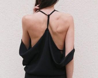 Black Womens Jumpsuit/ Bodysuit/ Romper/Overall/Fashionable Jumpsuit/Black Casual Jumpsuit/Black Overall/Open Back overall/FloAtelier/ F1558