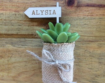 Place cards - Wood etched miniature flag - rustic