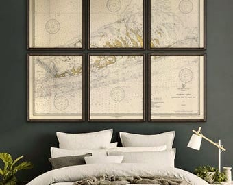 "Key West to Big Pine Key 1933, Florida Keys map, 7 sizes up to 90x72"" Nautical chart in 1 or 6 parts, also blue - Limited Edition of 100"