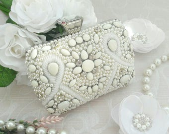 White Bridal Wedding Clutch Fashion embroidered with beads.