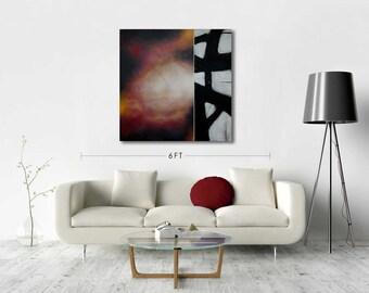Original Artwork on Canvas - Abstract Painting, Wall Decor, Black, White, Red, Franz Kline, Acrylic, Latex, Modern, Gift Idea, Toronto