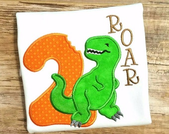 Personalized Embroidered Dinosaur Birthday Shirt 1st 2nd 3rd Birthday Bodysuit or T Shirt. Any age - Boy or Girl
