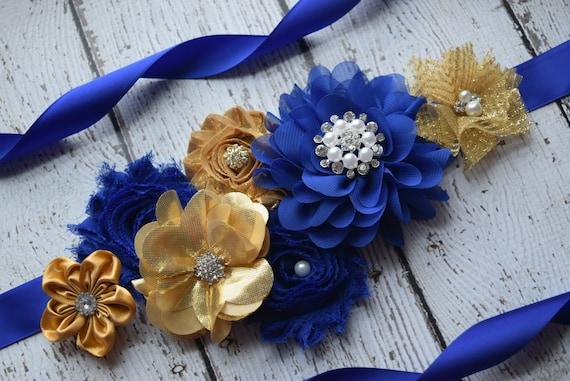 Flower Sash, gold royal navy Sash , flower Belt, maternity sash, flower girl sash, baby shower sash