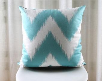 Decorative pillow cover/ teal chevron cushion cover/  Geometric Ikat pillow throw/Euro pillow sham