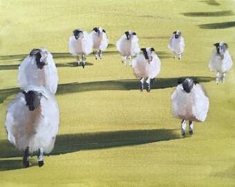 Sheep Painting Sheep Picture art PRINT Lamb Sheep - Art Print - from original painting by J Coates
